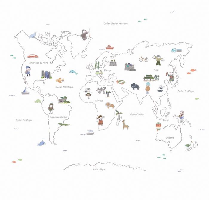 Mural mapa mundi bon voyage 280 ancho x 156 alto enfants - Papel pintado mapamundi infantil ...