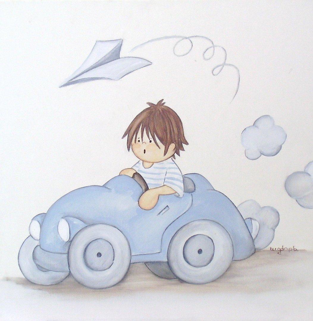 Cuadro ni o con coche de magda play enfants et maison - Cuadros para habitaciones infantiles ...