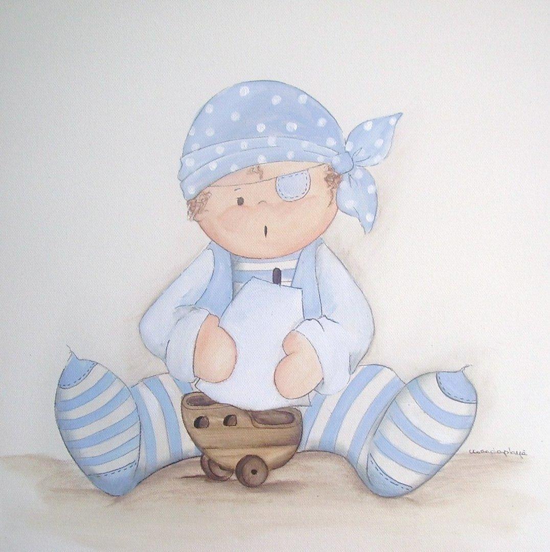 Cuadro ni o pirata con barquito de magda play enfants et - Cuadros habitaciones infantiles ...