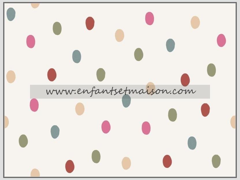 Papel pared coordonne topos beige rosa rojo verde enfants et maison for Precio papel pared