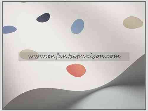 PAPEL PARED COORDONNE TOPOS BEIGE, AZULES, ROJO