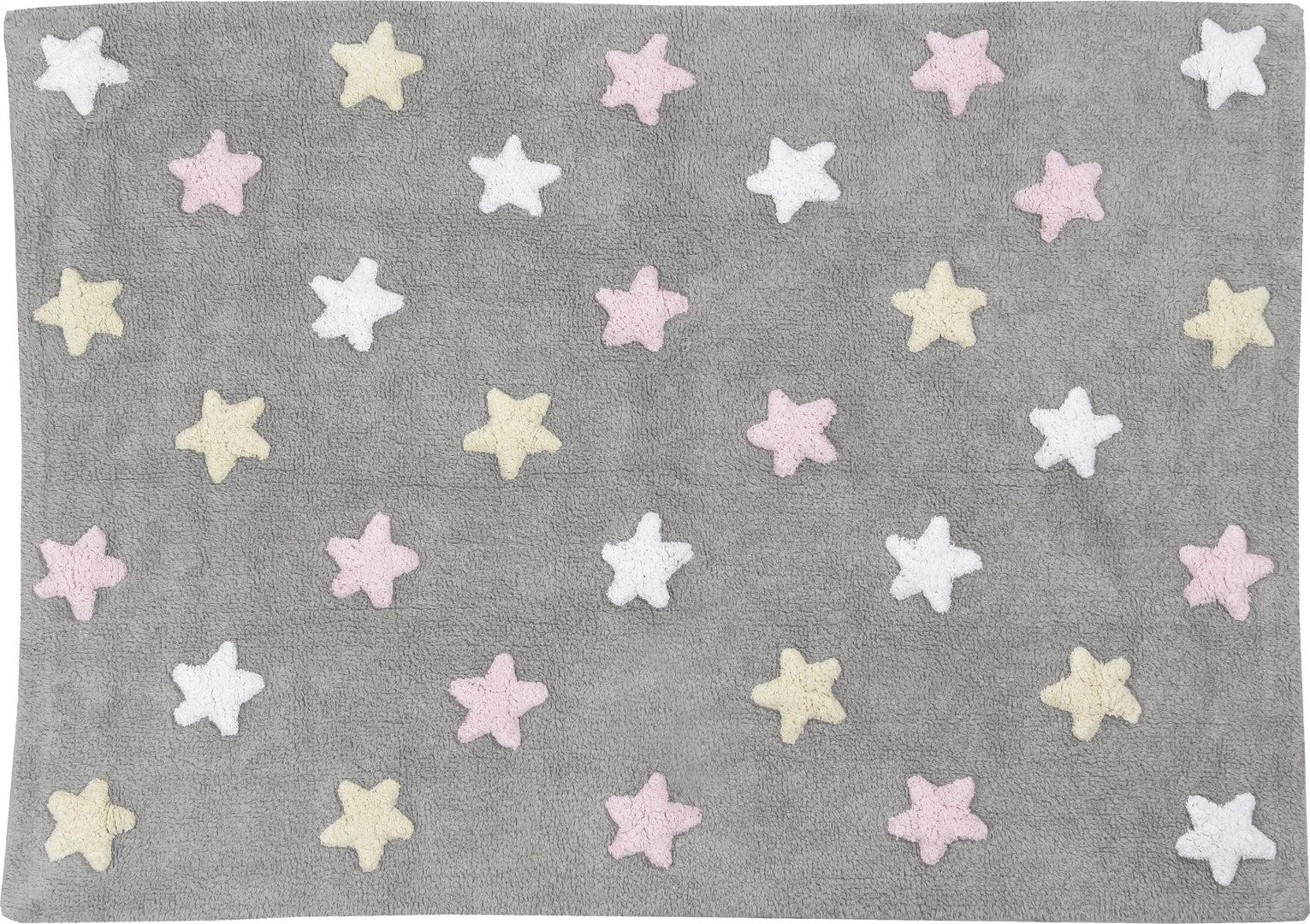 alfombra lorena canals gris tricolor stars rosa