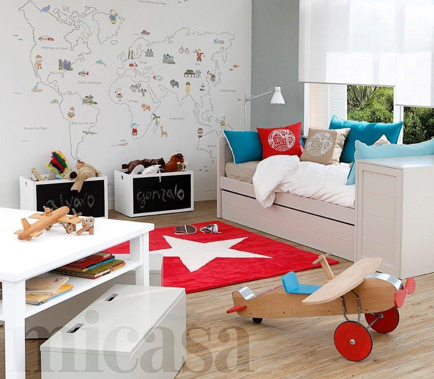 Murales infantiles enfants et maison - Mural mapa mundi ...