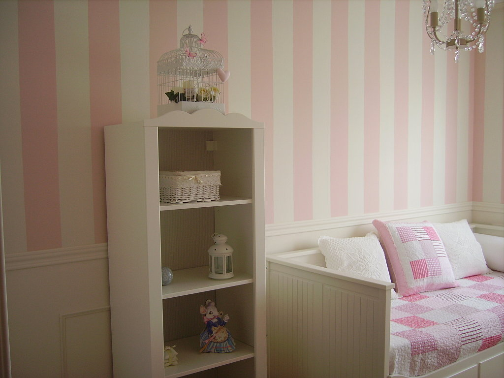 papel pared rayas 9cm rosa enfants et maison