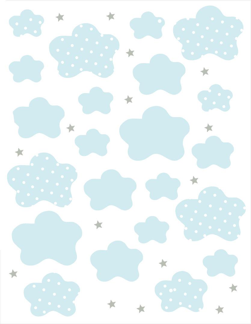 Vinilo decorativo nubes celeste enfants et maison for Papel decorativo pared infantil