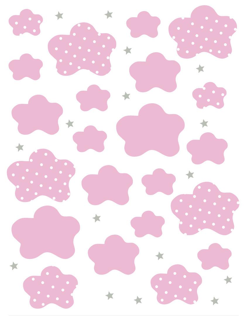 Vinilo decorativo nubes rosa enfants et maison for Papel decorado rosa