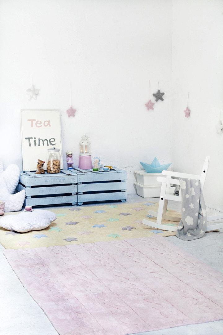 Alfombra lorena canals lavable trenzas pink enfants et for Valor alfombra