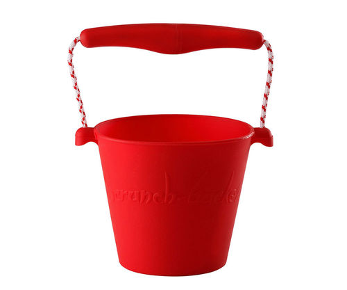Cubo de playa plegable y enrollable de silicona Scrunch rojo