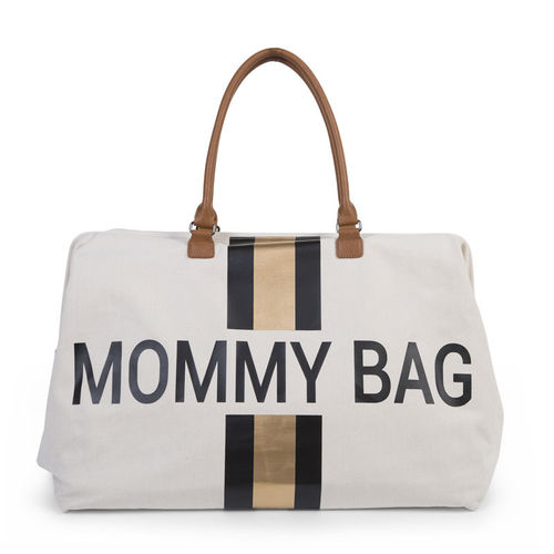 Bolsa Mommy Groot Canvas Off White Stripes Black Gold