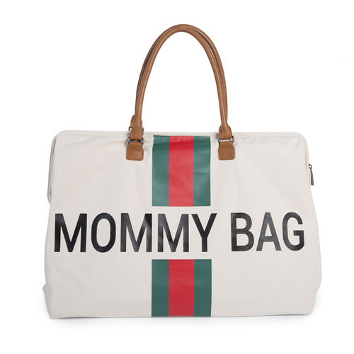 Bolsa Mommy Groot Canvas Off White Stripes Green Red