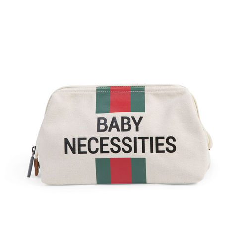 Neceser Baby Necessities Canvas Off White Stripes Green Red