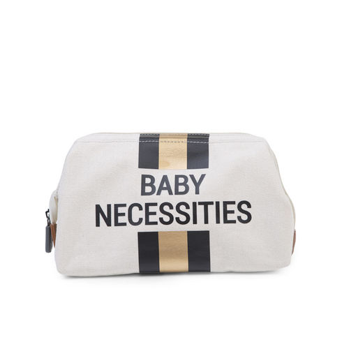 Neceser Baby Necessities Canvas Off White Stripes Black Gold