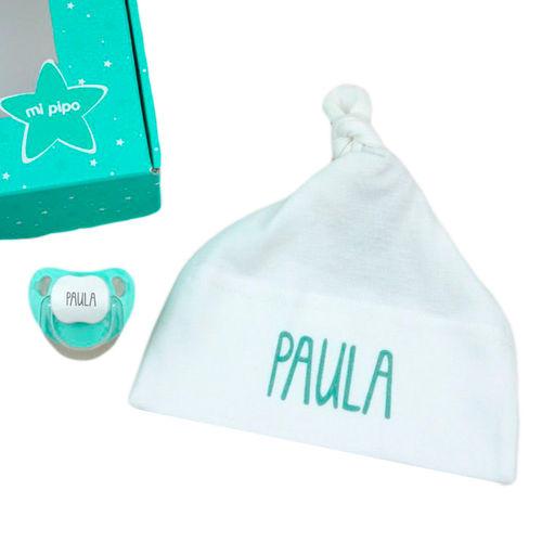 ClickInk Pack Gorro Regalo beb/é Primera Puesta Manoplas y Patucos reci/én Nacido Azul o Rosa. Personalizado con Nombre